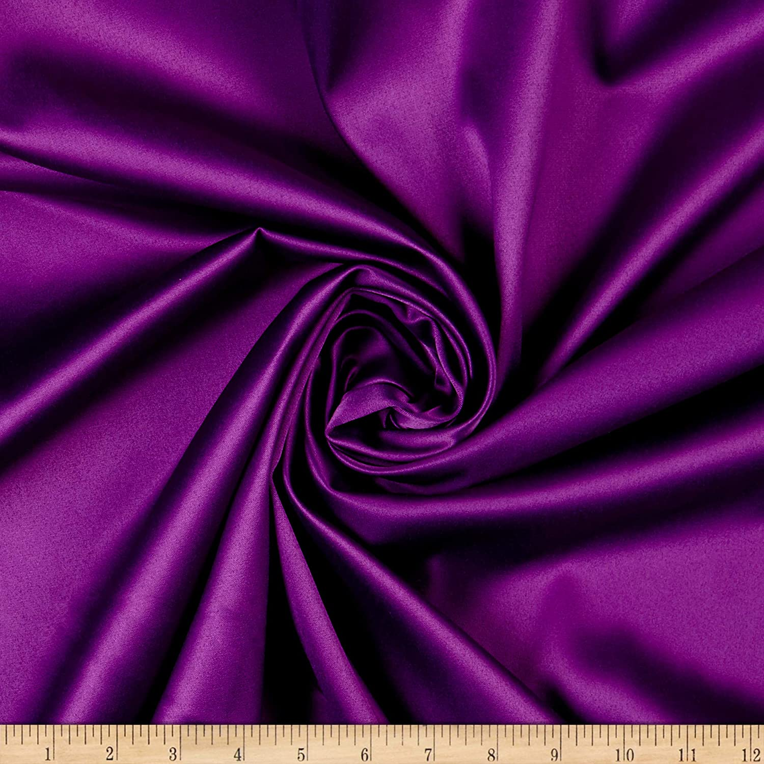 Ben Textiles Stretch L'Amour Satin Fabric, Purple, Fabric by The ...