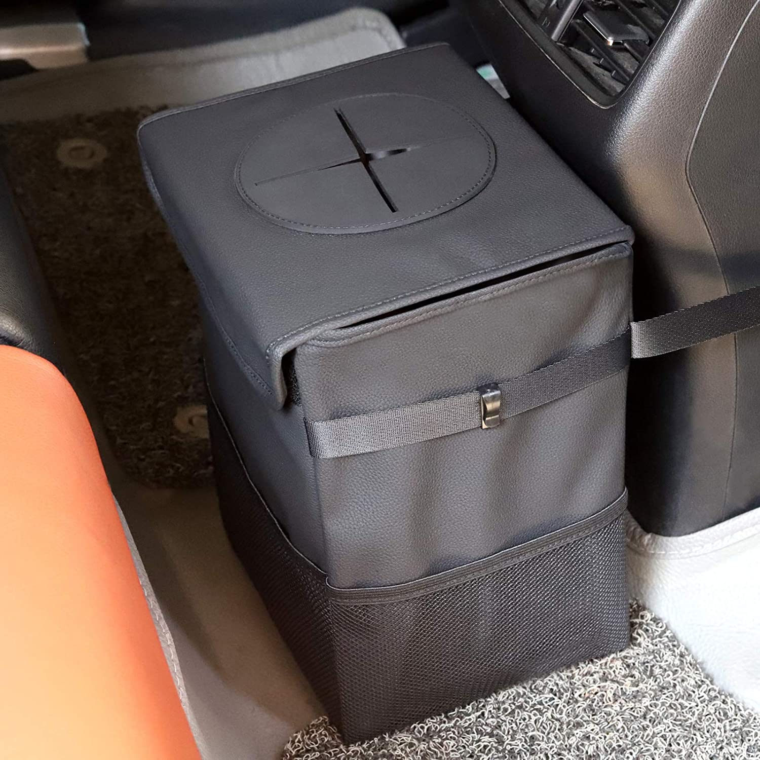 ERWUBA Challenge the lowest price Leather Car Trash Can with Lid 100% Storage Pockets Super special price and