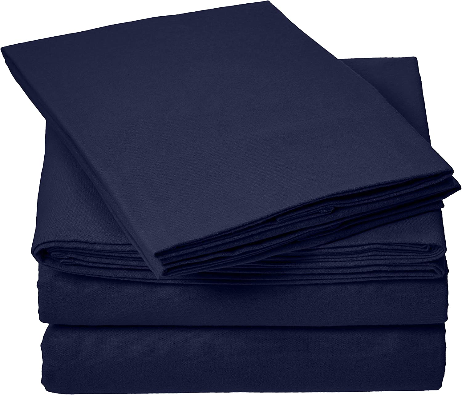 store Amazon Basics Everyday Flannel Bed Sheet Max 46% OFF Blue - Navy Queen Set