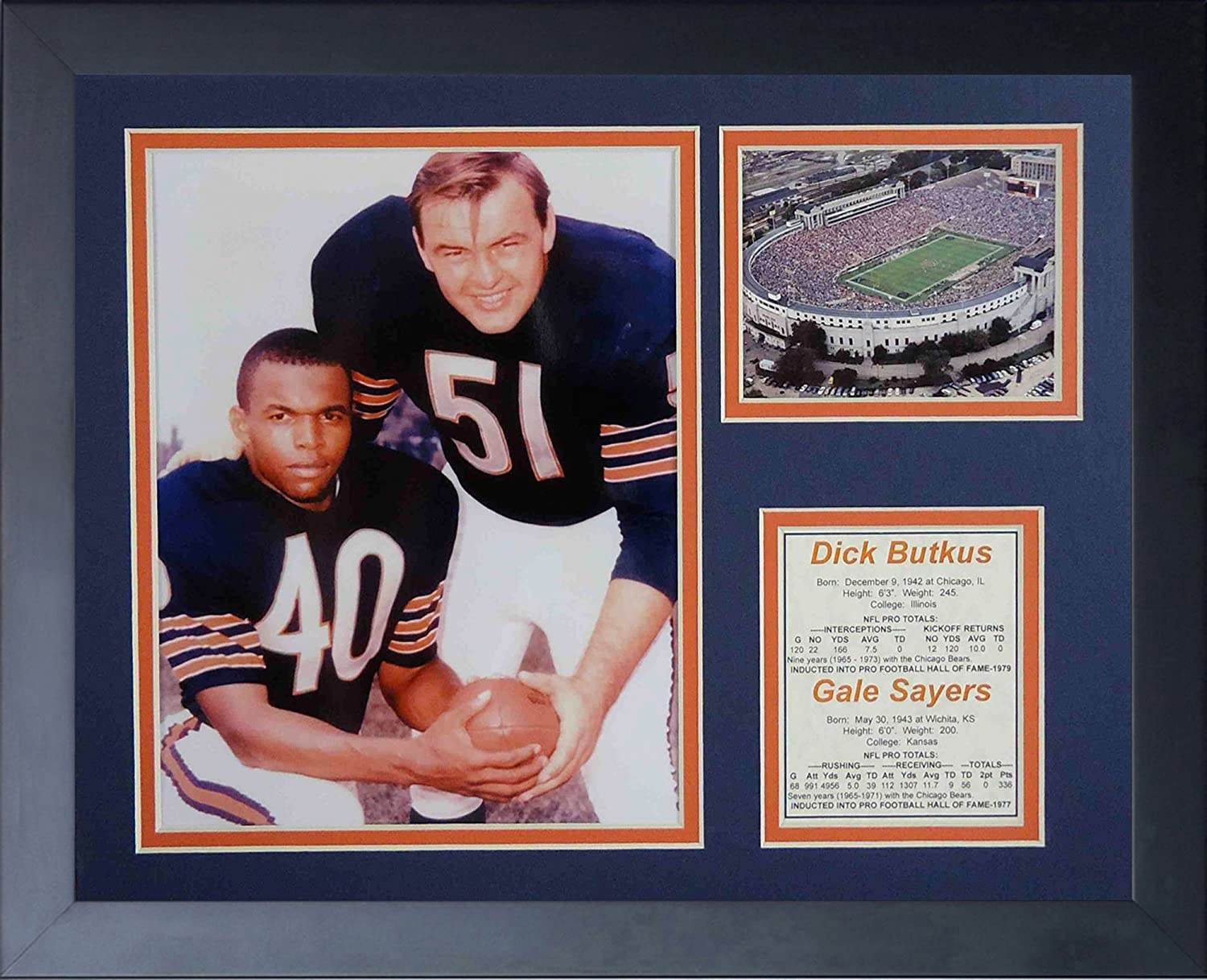 Legends Never Die Dick Butkus and Gale Sayers Framed Photo Collage, 11x14-Inch