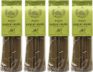 Morelli Pasta Garlic and Basil Linguine - Imported Pasta from Italy 8.8oz / 250g - Pack of 4