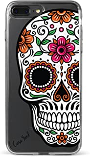 CaseYard iPhone 8 Plus/iPhone 7 Plus Clear Case, Slim Fit Hybrid Fashionable Clear Case, Made in California, (Clear) Sugar Skull