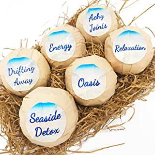 6 Natural Bath Bomb -100% Pure Essential Oils - Organic Butters - Natural Oils - Made in The USA - Best Bath Bombs Year Round