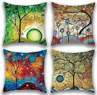 comprar comparacion Gspirit 4 Pack Maravilloso Árbol Algodón Lino Throw Pillow Case Funda de Almohada para Cojín 45x45 cm (1)