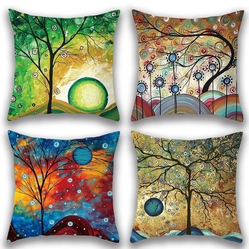 Gspirit Funda de almohada decorativa de lino y algodón para cojines y sofás 45 x 45 cm Paquete de 3: Amazon.es: Hogar