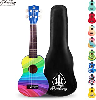 Honsing Soprano Ukulele Beginner Hawaii kids Guitar Uke Basswood 21 inches with Gig Bag- multicolor matte finish
