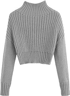 SweatyRocks Women's Drop Shoulder Mock Neck Pullover Sweater Long Sleeve Basic Crop Sweaters