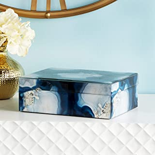 """CosmoLiving by Cosmopolitan 35731 Large Rectangular Wood & Glass Blue Geode Jewelry Box 