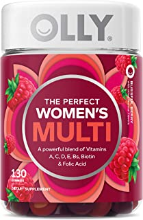 OLLY Women`s Multivitamin Gummy, Vitamins A, D, C, E, Biotin, Folic Acid, Chewable Supplement, Berry Flavor, 65-Day Supply...
