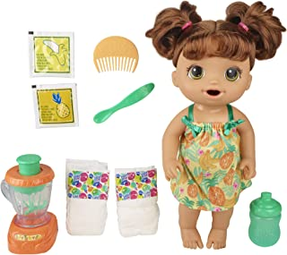 Baby Alive Magical Mixer Baby Doll Tropical Treat with Blender Accessories, Drinks, Wets, Eats, Brown Hair Toy for Kids Ag...