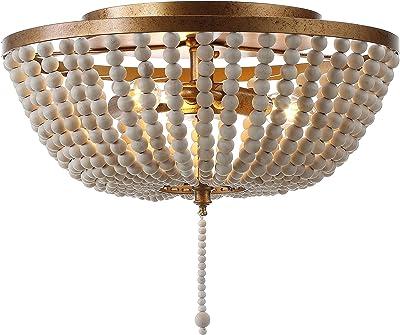 "JONATHAN Y JYL9019A Allison 15"" Wood Beaded/Metal LED Flush Mount, Contemporary, Transitional, for Bedroom, Livingroom, Office, Gold"