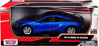 2018 BMW i8 Coupe Metallic Blue with Black Top 1/24 Diecast Model Car by Motormax 79359