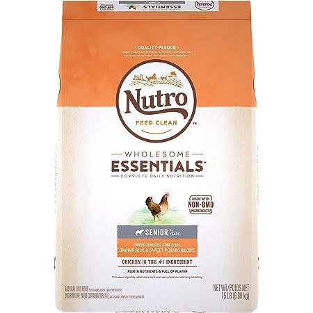 NUTRO WHOLESOME ESSENTIALS Senior Natural Dry Dog Food Farm-Raised Chicken, Brown Rice & Sweet Potato Recipe, 15 lb. Bag
