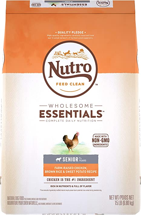 Amazon.com: DISCONTINUED BY MANUFACTURER: NUTRO WHOLESOME ESSENTIALS Senior  Natural Dry Dog Food Farm-Raised Chicken, Brown Rice & Sweet Potato Recipe,  15 lb. Bag : Pet Supplies