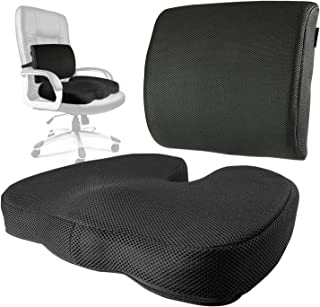 Tailbone Cushion Coxis Pillow & Memory Foam Lumbar Support Seat Set - Portable & Adjustable Office, Gaming or Automobile Mesh Bundle for Sacral, Coccyx & Lower Back Pain Relief by CT