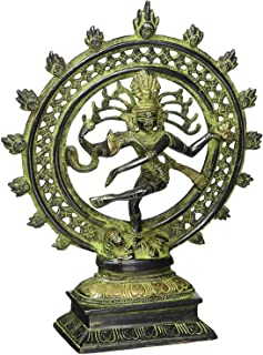 Buddha4all Brass Nataraj Statue with Arch Hindu God Shiva Dancing Statue for Home Temple Dancing Lord Shiva God of Dance Copper Plated Metal Statue (8 Inch Green)