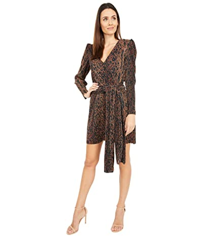 WAYF Riverside Puff Sleeve Dress (Leopard Plisse) Women