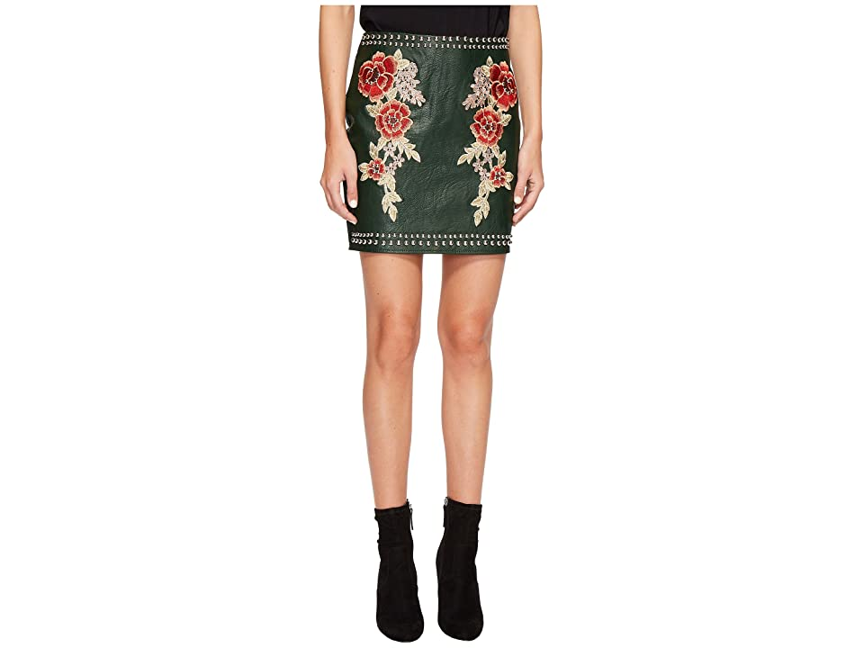 ROMEO & JULIET COUTURE Studded Embroidered PU Mini Skirt (Ink Green) Women