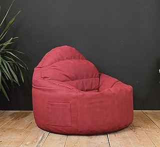 DOPLO – كرسي كبير داعم للظهر إضافي مبطن بألياف + فول كيس بين باج كبير 90 × 90 × 80 سم (خمري)