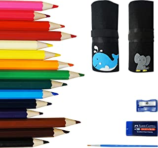 OOKU Chunky Kids Colored Pencils 15 Piece - Chubby Easy Holding - Easy to Hold Draw Kids - Bonus Pencil Wrap, Mini Eraser, Pencil Sharpener Full 18 Piece Kit - Whale