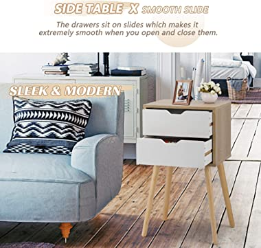 JAXSUNNY White Nightstands Set of 2, Bedside Table Accent End Table w/ 2 Drawers, Night Stand for Bedroom, 28 Inch Tall