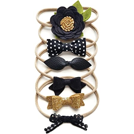 Newborn Headbands Polka Dot Baby Bow Headband Set Set of 3 Bows Faux Leather Bows For Babies and Toddlers Nylon Headbands