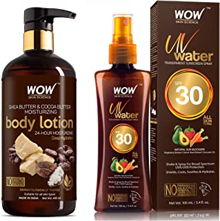 WOW Shea Butter and Cocoa Butter Moisturizing Body Lotion 300ml & WOW Skin Science UV Water Transparent Sunscreen Spray SP...