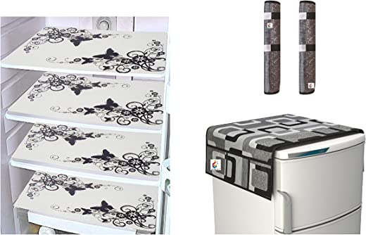 Goel Home Decor Combo of Exclusive Decorative 1 Fridge Top Cover (Black...