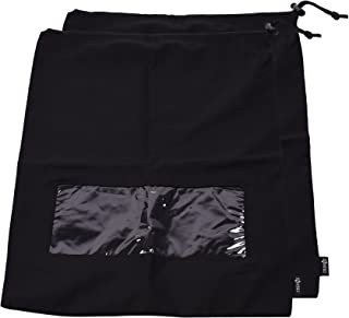 Cosmos 2 Pack Black Color Cotton Canvas Drawstring Travel Shoe Bag Storage with Clear View Window, 17-1/2 x 13-1/2 Inches
