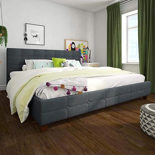 DHP Rose Upholstered, Blue Linen, King Beds