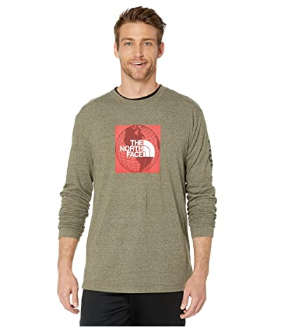 The North Face Long Sleeve Recycled Materials T-Shirt (New Taupe Green Heather/TNF Red) Men