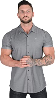 YoungLA Slim Fit Dress Shirts for Men | Athletic Fitted Button Up | Formal Short Sleeve | Casual Work 418