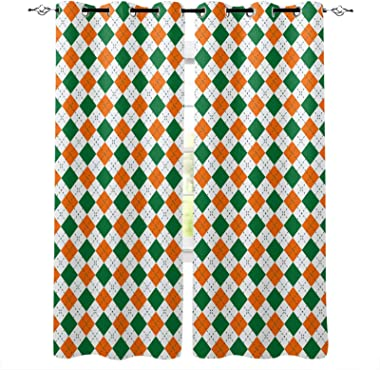 OneHoney Saint Patrick's Day Retro Plaid Blackout Window Curtains for Living Room Bedroom, Grommet Thermal Insulated Windows