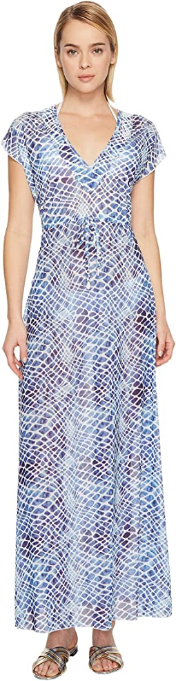 Printed Mesh Long Cover-Up