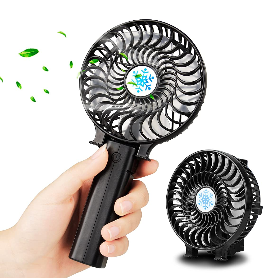 Mini Handheld Fan Battery Operated, UBEGOOD Personal Portable Travel Fan with USB Rechargeable Battery, 3 Speeds, Folding Electric Face Fan for Trip, Camping, Disney, Office Home
