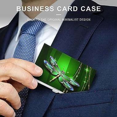 Business Card Holder - Beauty Jewel Dragonfly Credit Card Holder Pocket Metal Business Card Wallet for Men & Women