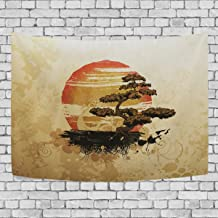 Blue Viper Japanese Style Bonsai Tree Tapestry Wall Hanging Artistic Home Wall Décor for Living Room Bedroom Dorm Wall Décor 80 x 60 Inches
