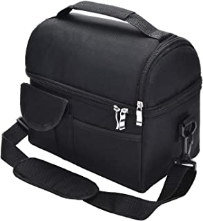 Adult Lunch Box Insulated Lunch Bag Large Cooler Tote Bag for Men, Women, Double Deck Cooler with Shoulder Strap (Black)