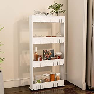 Mobile Shelving Unit Organizer with 4 Large Storage Baskets, Slim Slide Out Pantry Storage Rack for Narrow Spaces by Every...