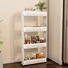 (4 Tier) - Mobile Shelving Unit Organiser with 4 Large Storage Baskets, Slim Slide Out Pantry Storage Rack for Narrow Spac...
