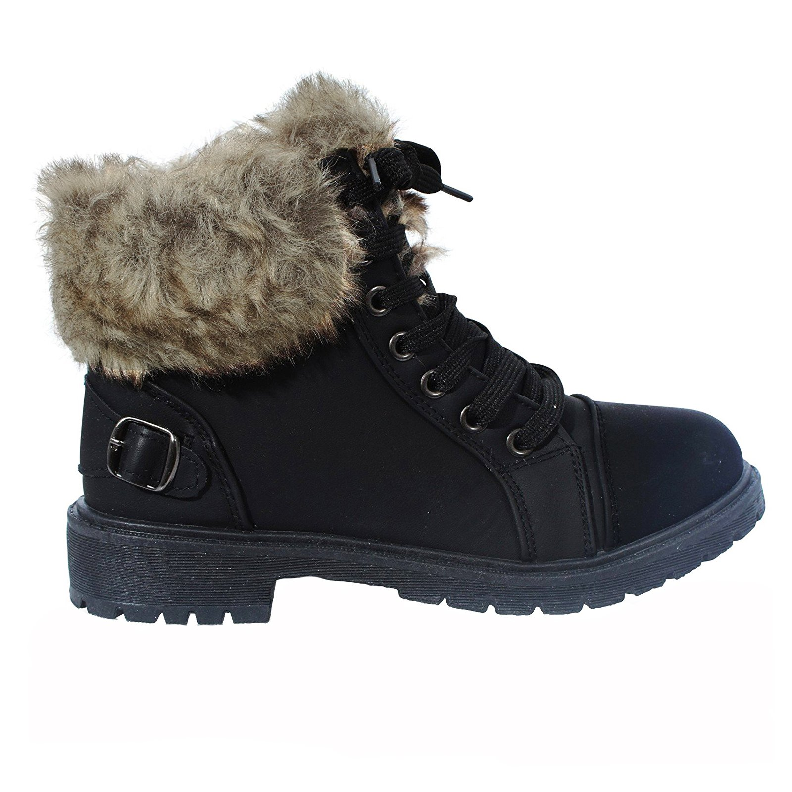 LADIES WOMENS ANKLE FUR LINED LACE UP GRIP SOLE WINTER ARMY COMBAT BOOTS SZ 3-8