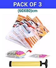 TIED RIBBONS Reusable Vacuum Compressed Space Saver Storage Bags Ideal for Clothes, Duvets, Bedding, Pillows, Curtains and Travelling Set of 3 (60 cm X 80 cm) Pump Included