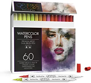Wordsworth and Black 60 Pack Dual Tips - Brush and Fineliner - Paint Markers, Flexible Brush Tips, Professional Watercolor...