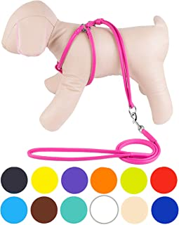 CollarDirect Rolled Leather Dog Harness Small Puppy Step-in Leash Set for Walking Pink Red White Blue Green Black Purple Beige Brown Yellow
