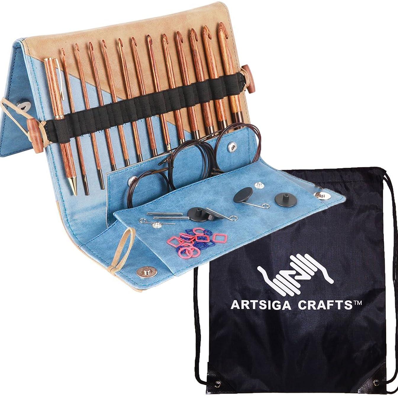 Knitter's Pride Tunisian Crochet Hook Ginger Set Bundle with 1 Artsiga Crafts Project Bag
