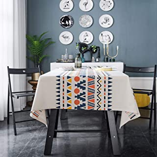 Boho White Geometric Tablecloth Rectangle Cotton Linen Waterproof Table Cover Tabletop Decoration for Kitchen Dining Room ...