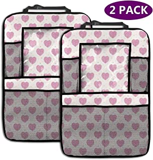Backseat Car Organizer Kick Mats,Minimalist Doodle Dots Circles Featured Heart Forms Lovers Birthday Theme,Car Seat Back Protectors with Clear Tablet Holder Storage Pockets (2 Pack)