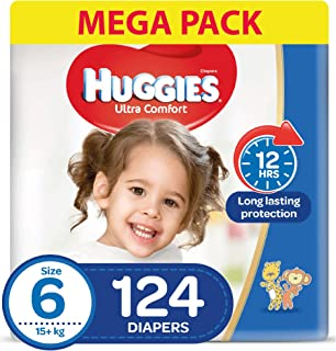 HUGGIES Ultra Comfort Diapers, Size 6, Jumbo Pack, 15+ kg, 124 Diapers