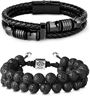 2PCS 8mm Lava Rock & Leather Bracelets Set for Men Double-Row Black Braided Leather with Stainless Steel Ornaments