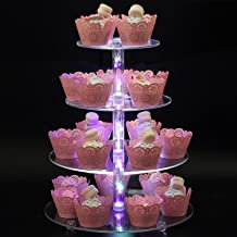 Boxalls 4 Tier Dessert Stand Acrylic Cupcake Stand with LED String Lights Pastry Tree Tower for Wedding Birthday Christmas Party -Round Shape (Colorful Light)